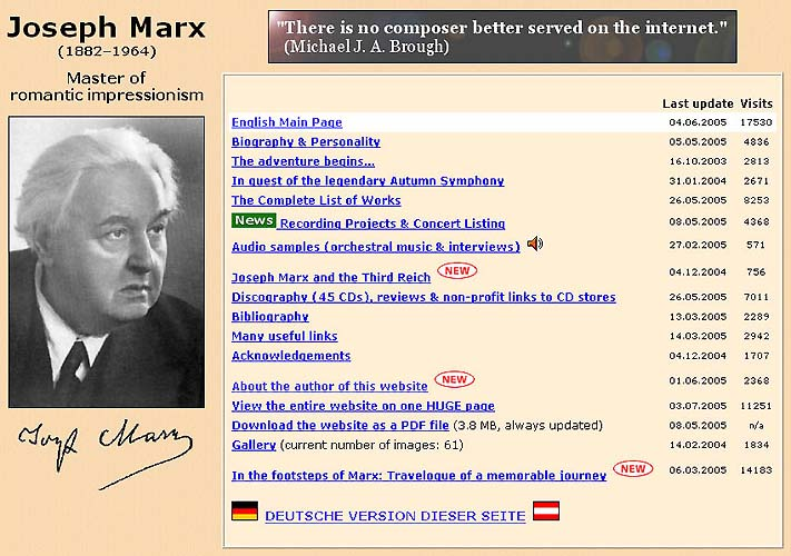 Joseph Marx - Deutsche Hauptseite
